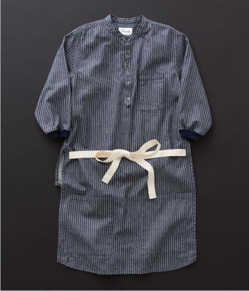 エプロン シャツ ストライプ×紺