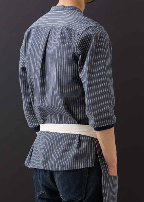 エプロン シャツ ストライプ× 紺